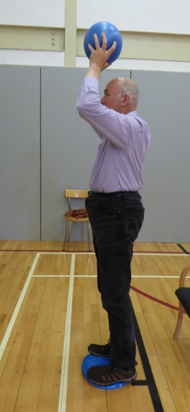 Image of Parkinsons exercise class participant doing physio to improve balance