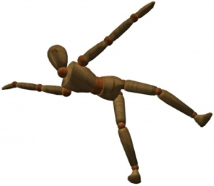 Stick figure in imbalanced position falling over