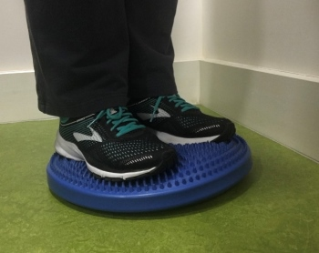 Exercise with wobble cushion